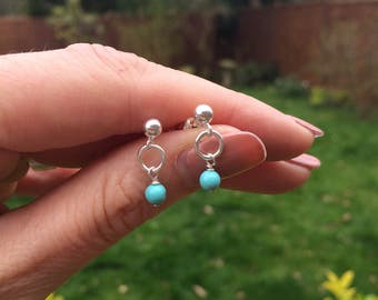 Tiny Turquoise earrings Sterling Silver stud small Turquoise drop earrings blue gemstone jewelry December Birthstone jewellery gift for girl