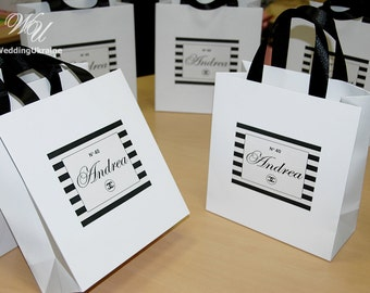 Chanel Party Favors Gift Bag with satin ribbon and Personalized tag - Black & White Chanel style Theme Birthday party Welcome Bags