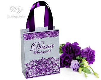Silver paper bags Personalized with Purple satin ribbon, print lace & names of your Bridesmaids or guests for small gifts - Wedding favors