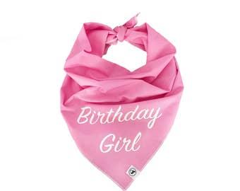 Birthday Girl Dog Bandana. Personalised bespoke bandana pink
