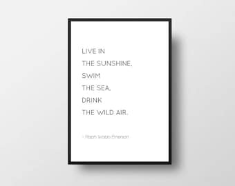Live in the sunshine, swim the sea, drink the wild air, Ralph Waldo Emerson, Emerson Quote, Literary Quote, Book Quote, Minimalist Art