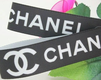 Chanel  (Black & White) Brand Ribbon 7/8 inch *Sold by the yard