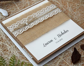 Custom Invitations, Rustic Lace Wedding Invitation Kit, Pocket Invitation, Burlap and Lace Wedding Invitation, Pocketfold Invite - SAMPLE