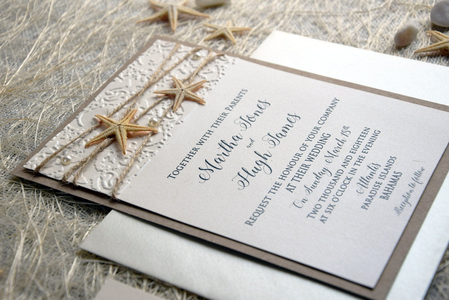Unique Wedding Invites: Beach Wedding Invitation Card Custom Invitations Embossed
