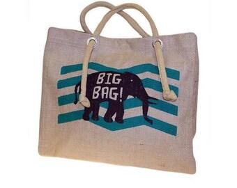 Jute elephant bag, shopping bag, sports bag, beach bag, elephant, turquoise