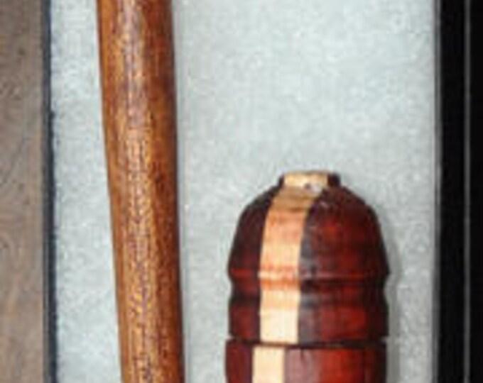Hand made mahogany wood stitch lay tool with a mixed wood needle case  skumix1232017