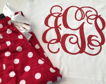 Matching Set - Monogrammed Polka Dot Pajama Pants with matching Short Sleeve Tshirt!  Glitter Vinyl...Youth and Adult Sizes Available!