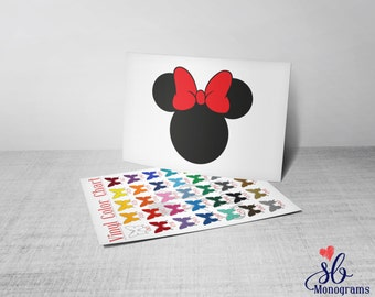 Mouse Head with Bow Vinyl Decal Sticker
