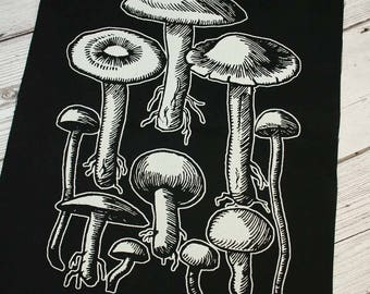 Mushrooms back patch - witchy patch, goth back patch, dark mori, toadstool patch, nature back patch, nature punk patch, nature lover patch