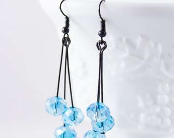Blue Crystal Dangle Earrings - Blue Earrings - Black Earrings