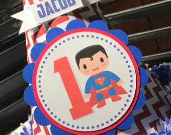 Superman Party Hat - Cake Smash Hat - Personalized Hat - Superhero Party - Blue and Red - First Birthday Hat - 1st Birthday