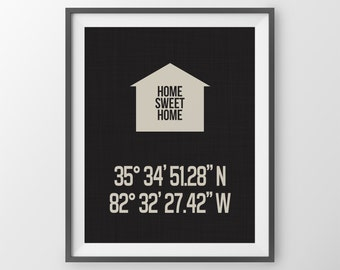 Personalized Latitude Longitude Print House Coordinates Print Housewarming Gift For Couple Anniversary Print Wedding Gift New Home Gift