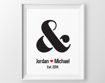 Engagement Gift for Couple Gift for Newlyweds Anniversary Gift Engagement Gift for Wedding Gift Ideas 1 Year Anniversary Gift Ampersand