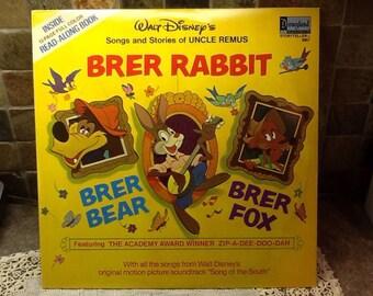 Walt Disney vinyl record 1963 songs and stories of uncle Remus Brer Rabbit