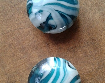 Huge Vintage Focal Glass Beads Turquoise and White Glass Bead Lot