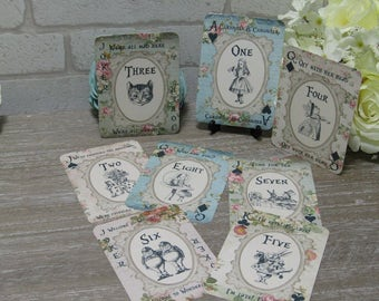 Alice in Wonderland Playing Card Table Numbers 1-8  Wedding,Tea Party