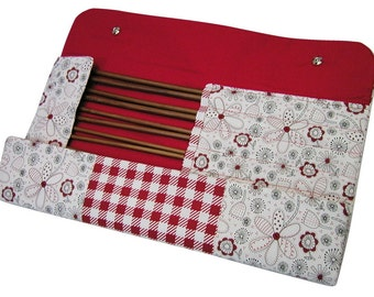 Handmade red, white and black knitting needles case, knitting needles storage, knitting, needles