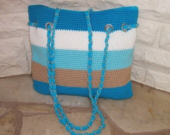 Handmade crochet shoulder bag, beach bag, summer bag, handbag, blue and white stripe