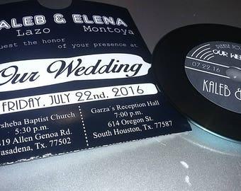 Music record vinyl wedding invitation