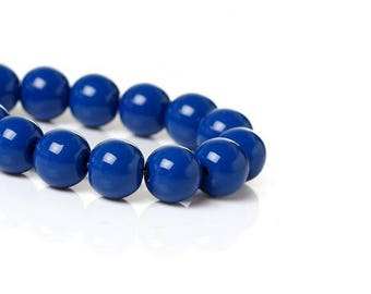 100 beads Royal Blue 8 mm glass