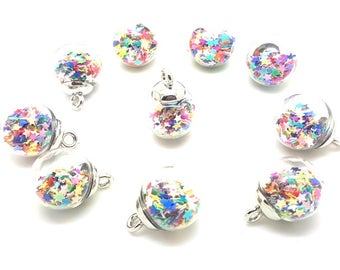 10 charms mini globes bubbles in glass sequins multicoloured stars