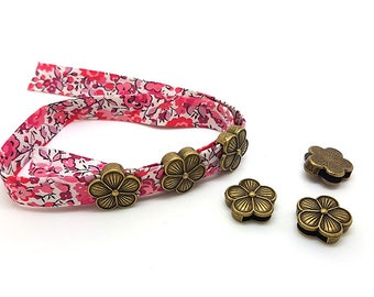 10 passers-by bronze flowers for cord flat 10mm