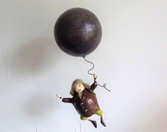 BOY  paper mache with ball