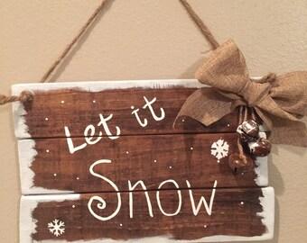 Wooden Christmas Signs Farmhouse Decor Let It Snow Pallet Rustic Winter