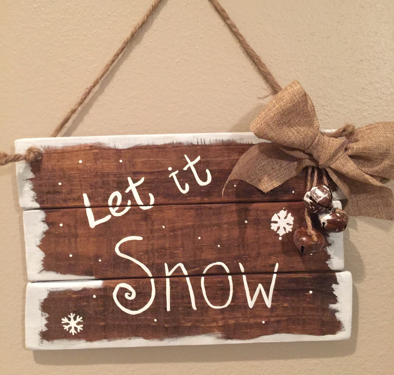 Wooden Christmas Signs Let It Snow Christmas Pallet Signs