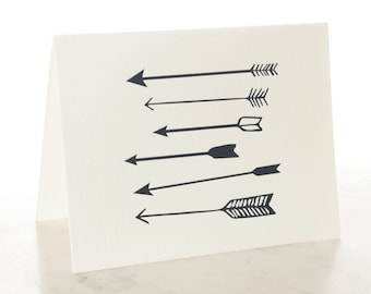ARROWS Notecards w/ Envelopes Letterpress Note Card Handmade Greeting Card Thank You Card Wedding Chicago Note Card Set Stationery Set A2