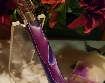 Shimmering Purple Crystal-Filled Pen with a Purple/Lavender Swirl Acrylic Body