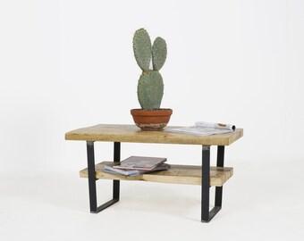 THE COFFEE KENT - Handmade coffee table using reclaimed wood, with a handy storage shelf and custom U-shaped raw steel legs