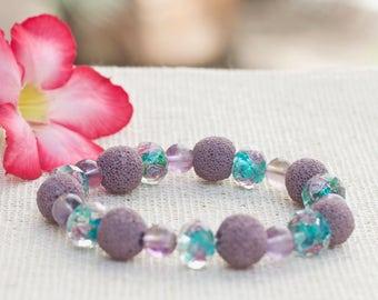 Diffuser bracelet, Lava rock stone essential oil bracelet, Purple stretch bracelet, Beaded bracelet Natural stone yoga bracelet Gift for her