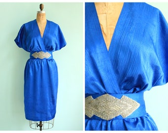 Vintage 1970's Electric Blue Disco Dress | Size Small