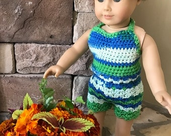 "Bohemian Doll Summer Outfit - Crochet Two Piece Boho Camo Summer Beach Handmade  Shorts and Halter Top for 18"" American Girl Doll - Item D12"
