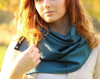 Sale! Versatile Snap Scarf | Black and Teal |Multiple ways to wear| Accessory| Gifts for Her | Infinity | Fashion | Camila