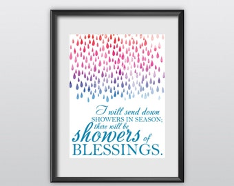 75% off Ezekiel 34:26 Scripture Print Christian Poster Showers of Blessing Typography Bible Verse Wall Art (T23)