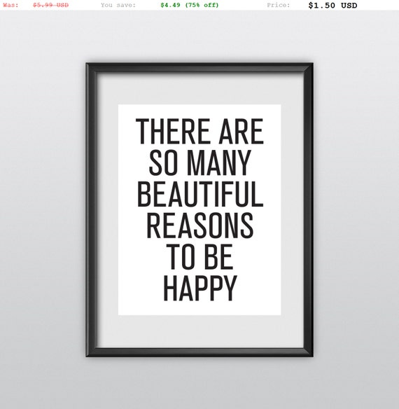 75% off Inspirational Print Typography Poster There Are So Many Beautiful Reasons Motivational Print Wall Decor (T92)