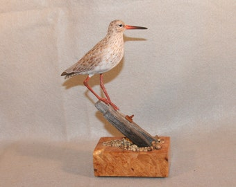 Miniature Redshank shorebird woodcarving,carving,birds,