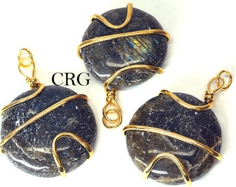 Gold Plated Round Spiral Wrapped Labradorite Pendant (RS3DG)