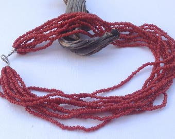 Jewelry Silpada Red Coral 10 Strand Multi Layer Necklace. Sterling Silver End Caps.