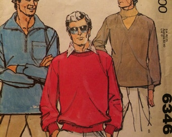 Great Pullover Pattern For Your Guy---McCalls 6346---Size Small