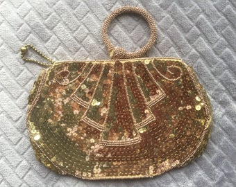 Vintage Gold Sequin Purse/Evening Bag/Clatch/1940s/Zip Fastener