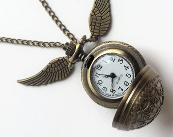 Harry Potter watch engraved snitch Pocket or Necklace Watch Bronze effect