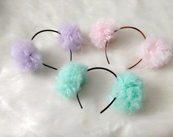Fluffy pom pom headbands