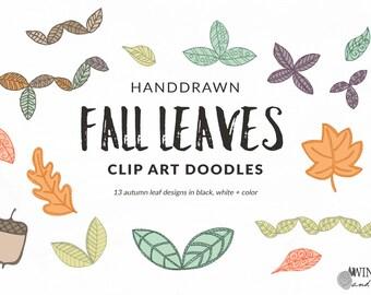 Fall Leaves - Leaf Clip Art Doodles for Autumn