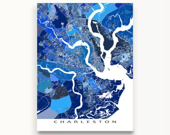 Charleston Map, Charleston South Carolina City Map Print, Street Map