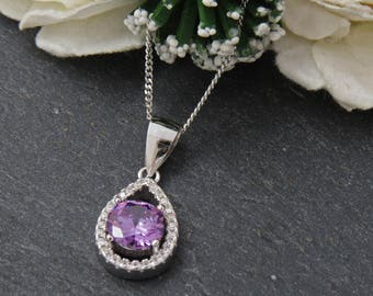 Sterling Silver Amethyst Necklace, Amethyst Crystal Pendant, 925 Silver Amethyst Jewelry, Purple Necklace, Gift for Wife