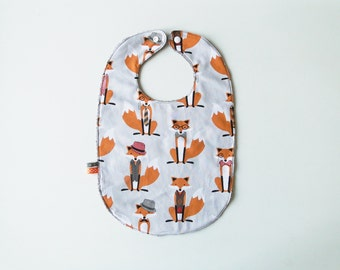 "Large bib ""fox"" in cotton and sponge 12-24 months"