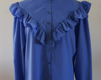 Irving Nadler Lapis Blue Victorian High Collar Triangle Ruffled Yoke Long Sleeve Blouse Satiny 60's Blouse NWT Deadstock Size Large BTK-018